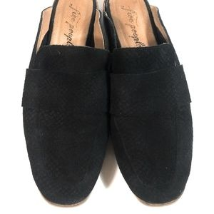 Free People Suede Black Perforated Slides Shoes 39